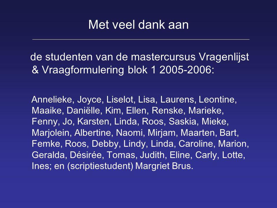 Met veel dank aan de studenten van de mastercursus Vragenlijst & Vraagformulering blok 1 2005-2006: Annelieke, Joyce, Liselot, Lisa, Laurens, Leontine
