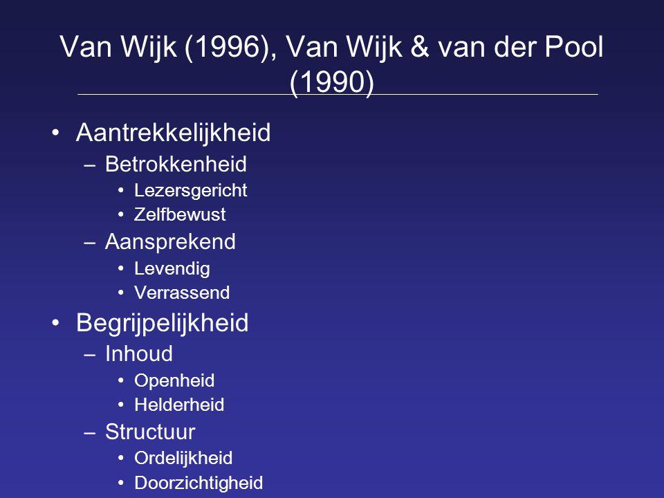 Van Wijk (1996), Van Wijk & van der Pool (1990) Aantrekkelijkheid –Betrokkenheid Lezersgericht Zelfbewust –Aansprekend Levendig Verrassend Begrijpelij