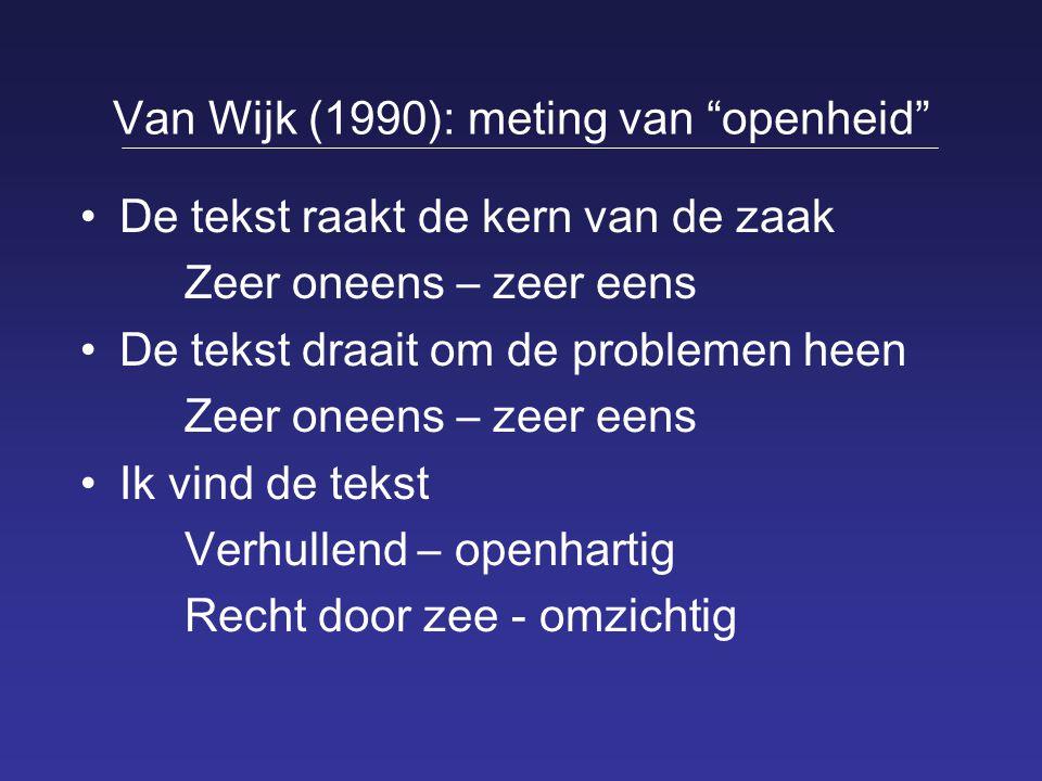 """Van Wijk (1990): meting van """"openheid"""" De tekst raakt de kern van de zaak Zeer oneens – zeer eens De tekst draait om de problemen heen Zeer oneens – z"""