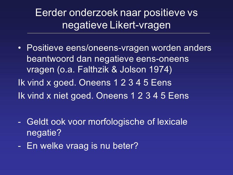 Eerder onderzoek naar positieve vs negatieve Likert-vragen Positieve eens/oneens-vragen worden anders beantwoord dan negatieve eens-oneens vragen (o.a