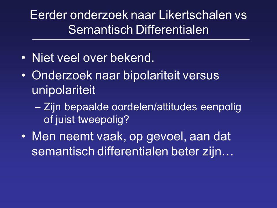 Eerder onderzoek naar Likertschalen vs Semantisch Differentialen Niet veel over bekend. Onderzoek naar bipolariteit versus unipolariteit –Zijn bepaald