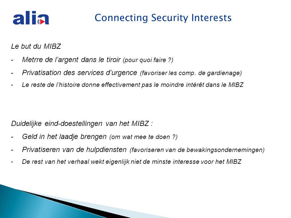 Le but du MIBZ -Metrre de l'argent dans le tiroir (pour quoi faire ?) -Privatisation des services d'urgence (favoriser les comp.