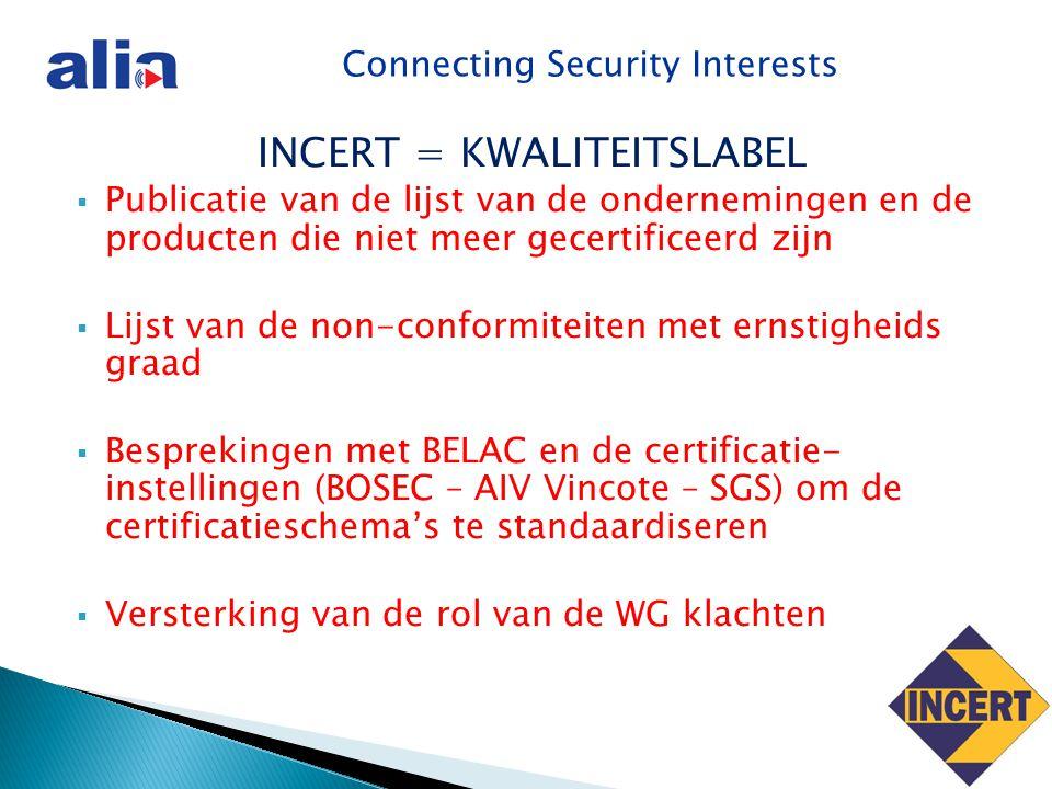 Connecting Security Interests INCERT = KWALITEITSLABEL  Publicatie van de lijst van de ondernemingen en de producten die niet meer gecertificeerd zijn  Lijst van de non-conformiteiten met ernstigheids graad  Besprekingen met BELAC en de certificatie- instellingen (BOSEC – AIV Vincote – SGS) om de certificatieschema's te standaardiseren  Versterking van de rol van de WG klachten