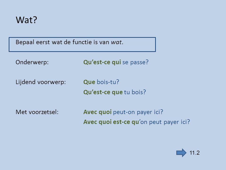 Wat? Bepaal eerst wat de functie is van wat. Onderwerp:Qu'est-ce qui se passe? Lijdend voorwerp:Que bois-tu? Qu'est-ce que tu bois? Met voorzetsel:Ave