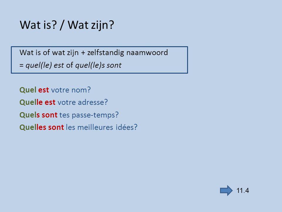 Wat is? / Wat zijn? Wat is of wat zijn + zelfstandig naamwoord = quel(le) est of quel(le)s sont Quel est votre nom? Quelle est votre adresse? Quels so