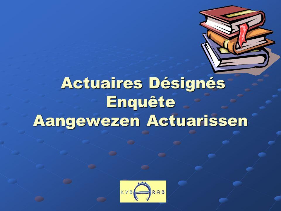 Actuaires Désignés Enquête Aangewezen Actuarissen Actuaires Désignés Enquête Aangewezen Actuarissen
