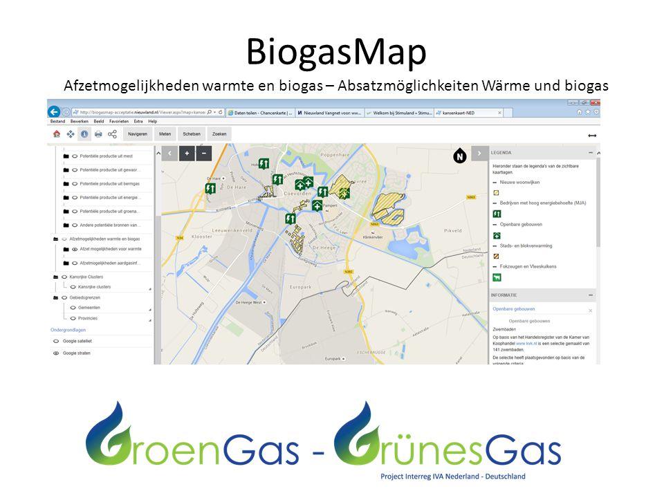 BiogasMap Afzetmogelijkheden warmte en biogas – Absatzmöglichkeiten Wärme und biogas