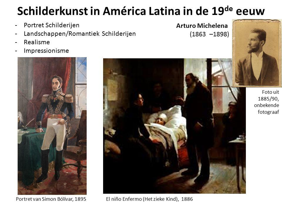 Schilderkunst in América Latina in de 19 de eeuw -Portret Schilderijen -Landschappen/Romantiek Schilderijen -Realisme -Impressionisme Portret van Simo