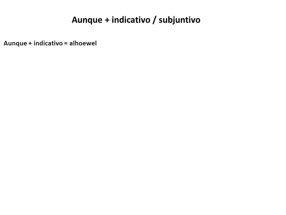 Aunque + indicativo / subjuntivo Aunque + indicativo = alhoewel Lo haré aunque no me lo ha pedido.