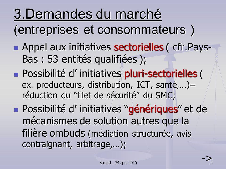 3.Demandes du marché (entreprises et consommateurs ) Appel aux initiatives sectorielles ( cfr.Pays- Bas : 53 entités qualifiées ); Appel aux initiativ