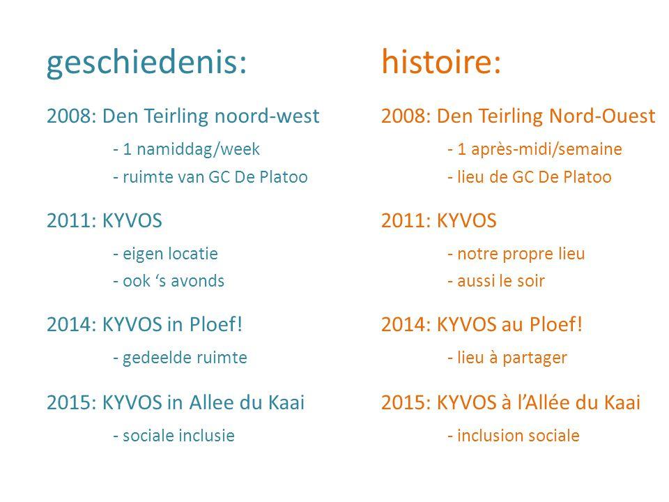 geschiedenis:histoire: 2008: Den Teirling noord-west2008: Den Teirling Nord-Ouest - 1 namiddag/week- 1 après-midi/semaine - ruimte van GC De Platoo- lieu de GC De Platoo 2011: KYVOS - eigen locatie - notre propre lieu - ook 's avonds- aussi le soir 2014: KYVOS in Ploef!2014: KYVOS au Ploef.