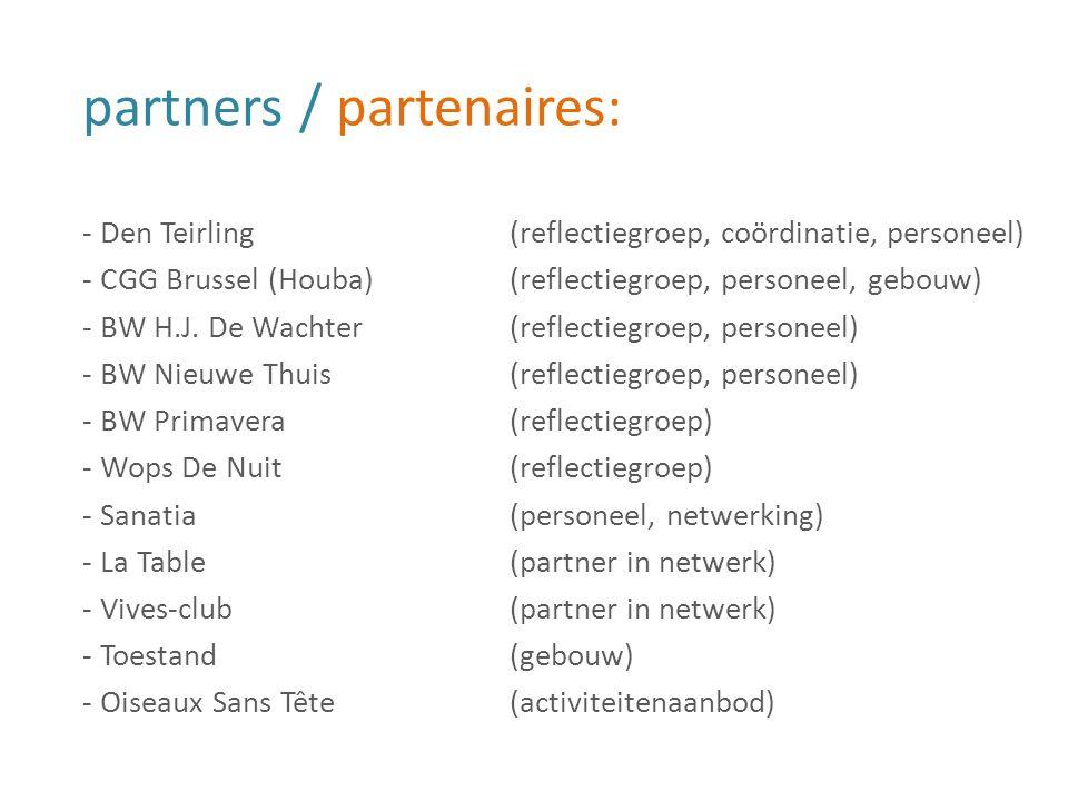 partners / partenaires: - Den Teirling(reflectiegroep, coördinatie, personeel) - CGG Brussel (Houba)(reflectiegroep, personeel, gebouw) - BW H.J. De W