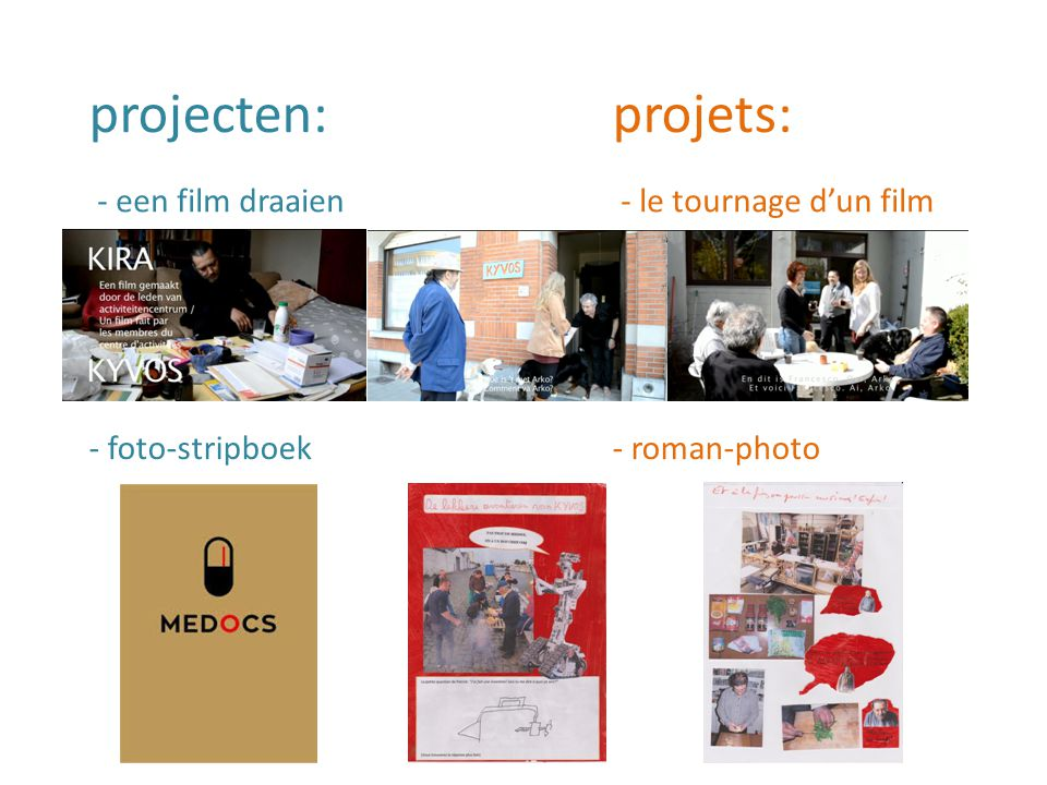 projecten: projets: - foto-stripboek- roman-photo - een film draaien - le tournage d'un film