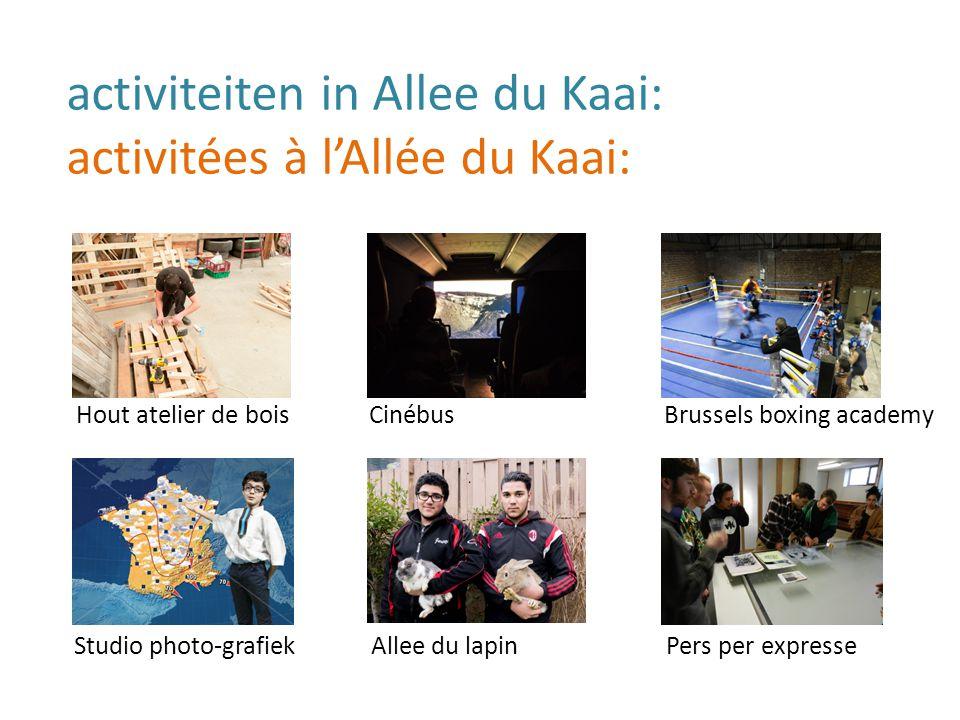 activiteiten in Allee du Kaai: activitées à l'Allée du Kaai: Hout atelier de bois Studio photo-grafiek Cinébus Allee du lapin Brussels boxing academy Pers per expresse