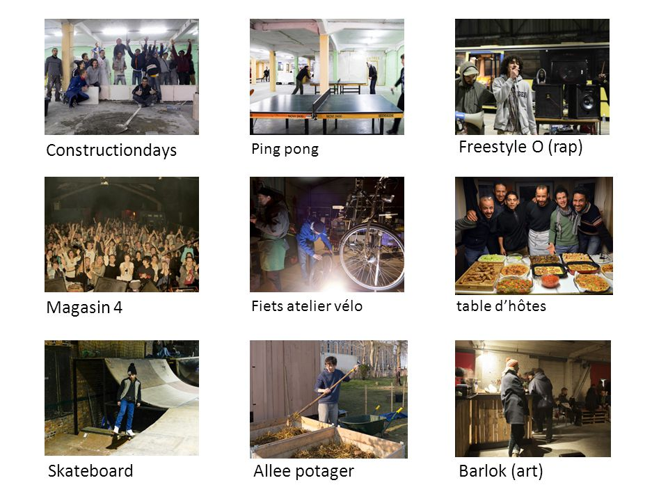 Constructiondays Magasin 4 Skateboard Ping pong Fiets atelier vélo Allee potager Freestyle O (rap) table d'hôtes Barlok (art)