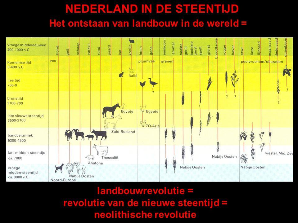 landbouwrevolutie = revolutie van de nieuwe steentijd = neolithische revolutie Het ontstaan van landbouw in de wereld =