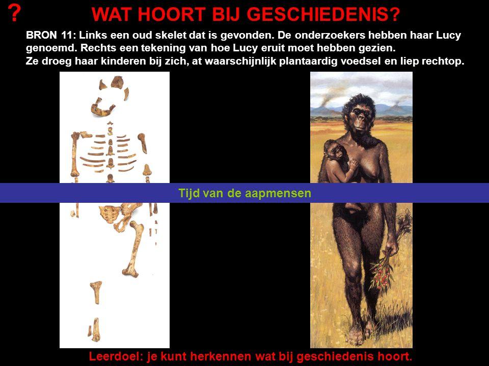 BRON 11: Links een oud skelet dat is gevonden. De onderzoekers hebben haar Lucy genoemd. Rechts een tekening van hoe Lucy eruit moet hebben gezien. Ze