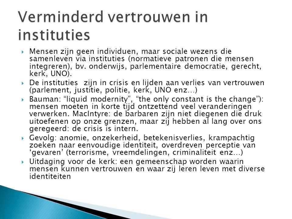  Mensen zijn geen individuen, maar sociale wezens die samenleven via instituties (normatieve patronen die mensen integreren), bv.