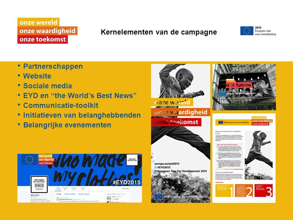 """Partnerschappen Website Sociale media EYD en """"the World's Best News"""" Communicatie-toolkit Initiatieven van belanghebbenden Belangrijke evenementen Ker"""
