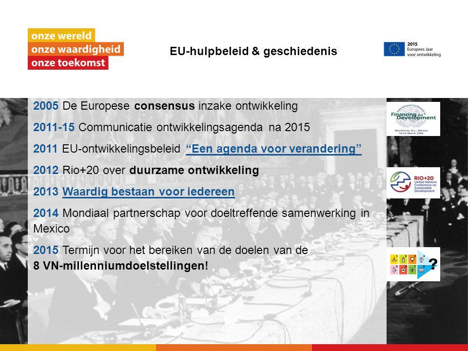 EU-hulpbeleid & geschiedenis 2005 De Europese consensus inzake ontwikkeling 2011-15 Communicatie ontwikkelingsagenda na 2015 2011 EU-ontwikkelingsbele