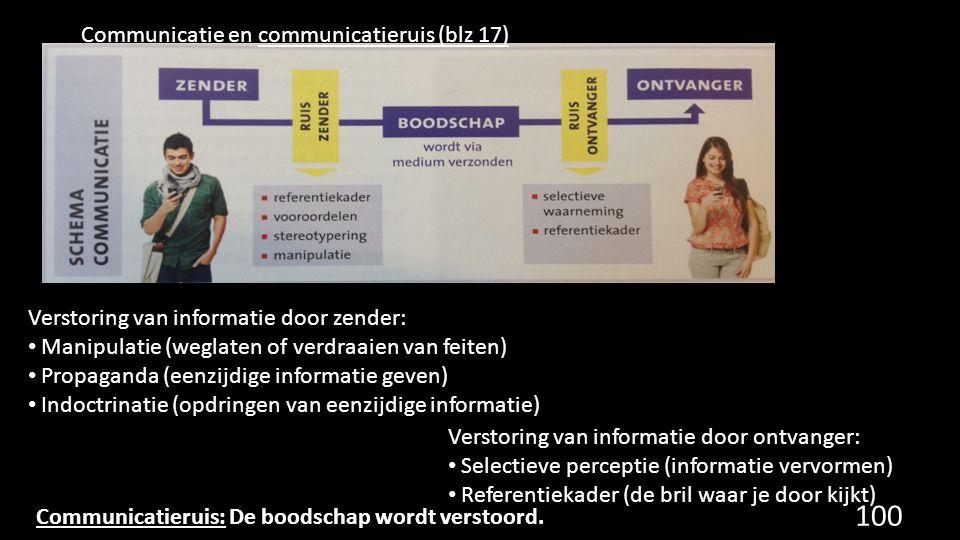 Communicatie en communicatieruis (blz 17) Verstoring van informatie door zender: Manipulatie (weglaten of verdraaien van feiten) Propaganda (eenzijdig