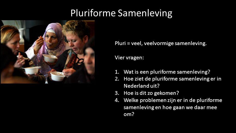 Pluriforme Samenleving Pluri = veel, veelvormige samenleving. Vier vragen: 1.Wat is een pluriforme samenleving? 2.Hoe ziet de pluriforme samenleving e