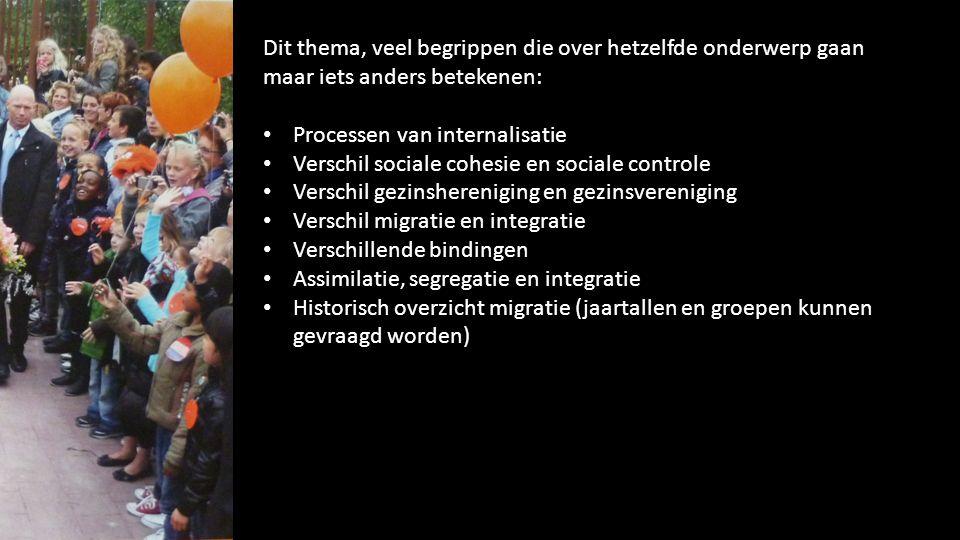 Dit thema, veel begrippen die over hetzelfde onderwerp gaan maar iets anders betekenen: Processen van internalisatie Verschil sociale cohesie en socia