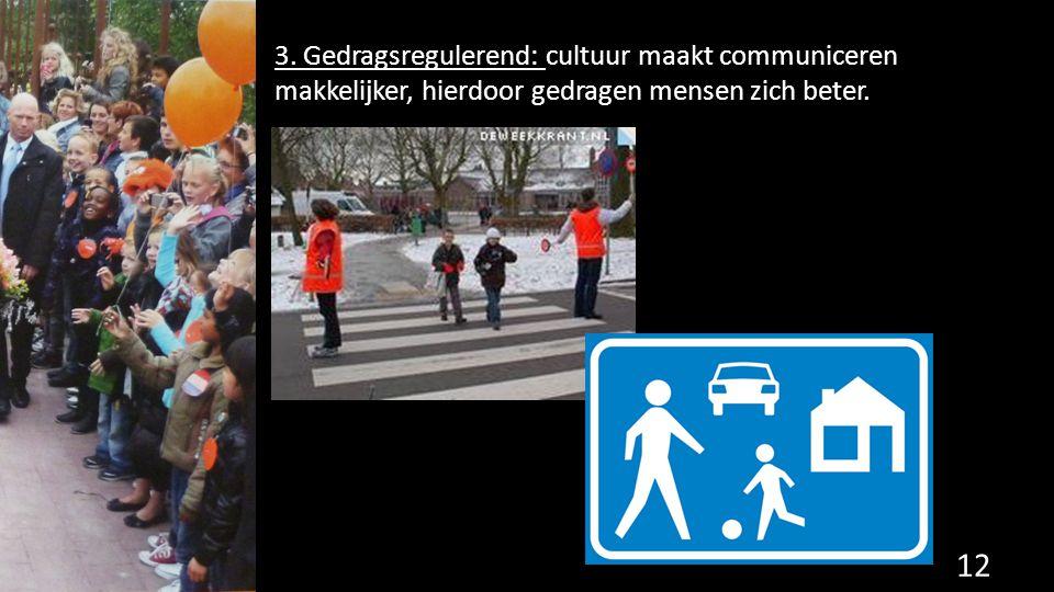 3. Gedragsregulerend: cultuur maakt communiceren makkelijker, hierdoor gedragen mensen zich beter. 12