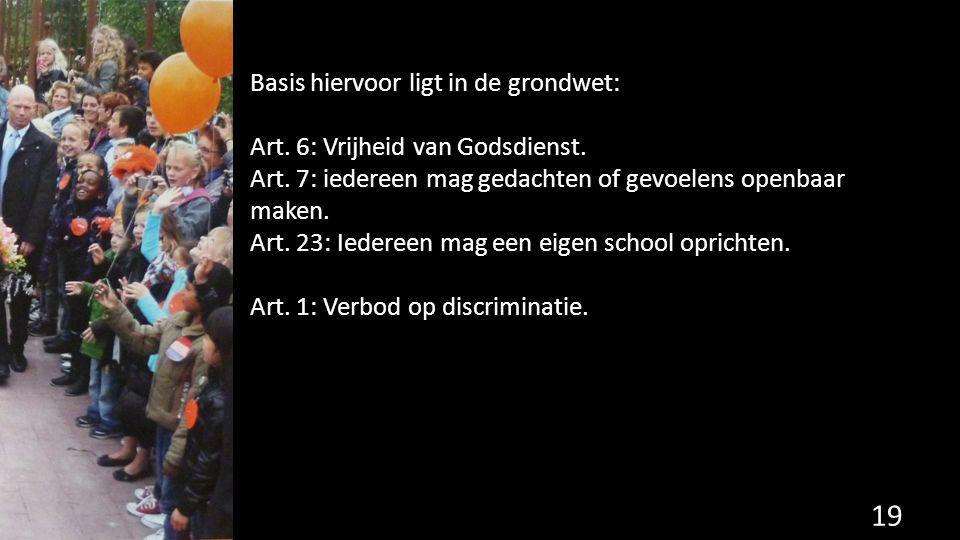 Basis hiervoor ligt in de grondwet: Art. 6: Vrijheid van Godsdienst. Art. 7: iedereen mag gedachten of gevoelens openbaar maken. Art. 23: Iedereen mag