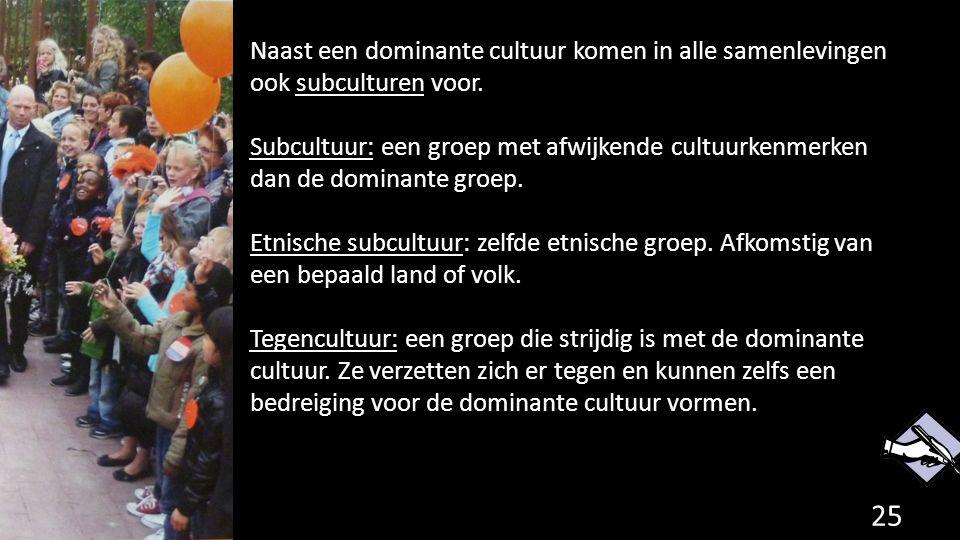 Naast een dominante cultuur komen in alle samenlevingen ook subculturen voor. Subcultuur: een groep met afwijkende cultuurkenmerken dan de dominante g