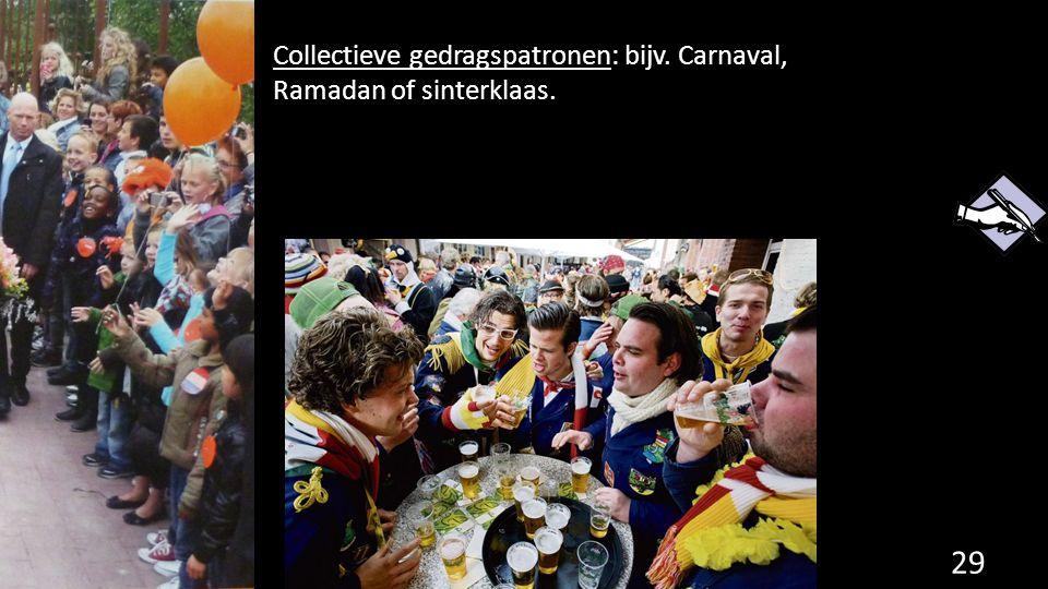 Collectieve gedragspatronen: bijv. Carnaval, Ramadan of sinterklaas. 29
