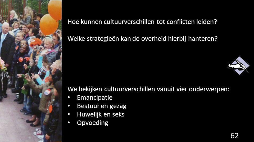 62 Hoe kunnen cultuurverschillen tot conflicten leiden? Welke strategieën kan de overheid hierbij hanteren? We bekijken cultuurverschillen vanuit vier