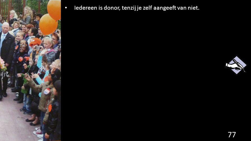 77 Iedereen is donor, tenzij je zelf aangeeft van niet.