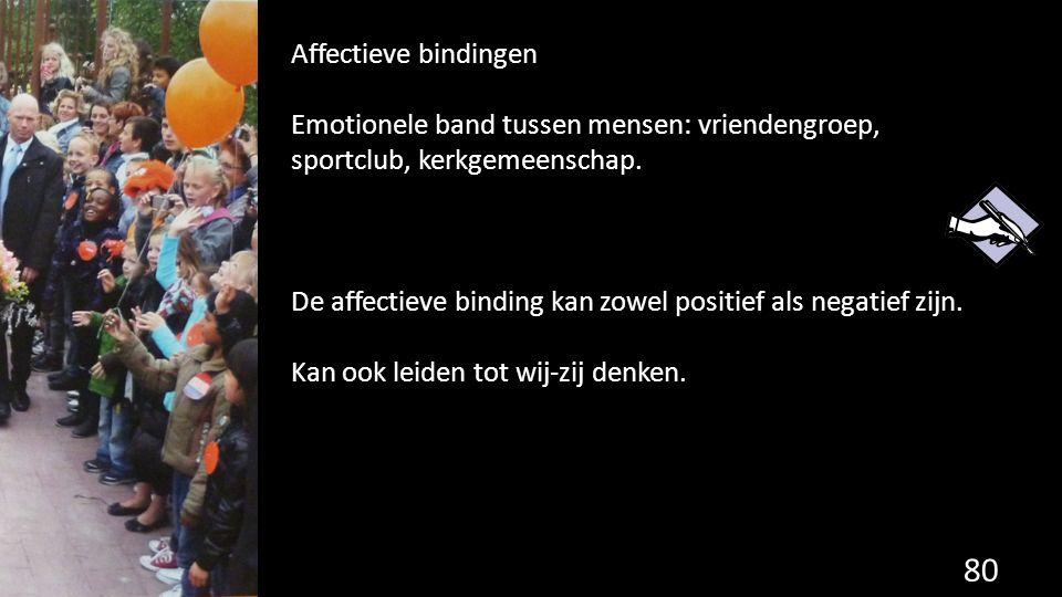 80 Affectieve bindingen Emotionele band tussen mensen: vriendengroep, sportclub, kerkgemeenschap. De affectieve binding kan zowel positief als negatie