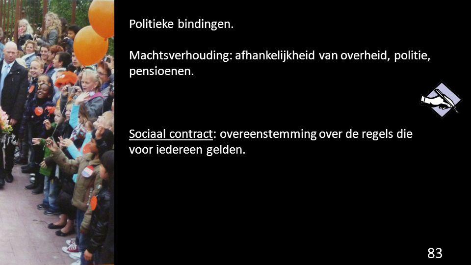 83 Politieke bindingen. Machtsverhouding: afhankelijkheid van overheid, politie, pensioenen. Sociaal contract: overeenstemming over de regels die voor