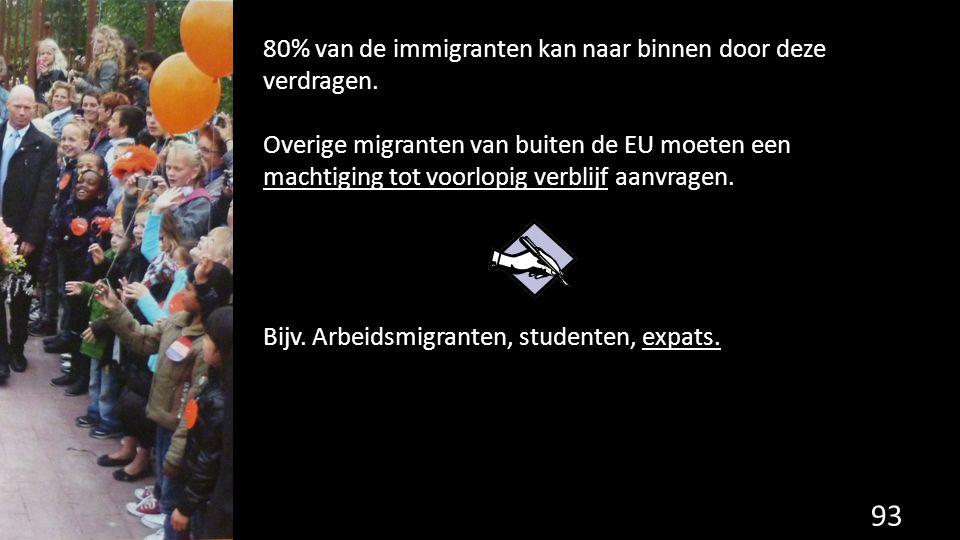 93 80% van de immigranten kan naar binnen door deze verdragen. Overige migranten van buiten de EU moeten een machtiging tot voorlopig verblijf aanvrag