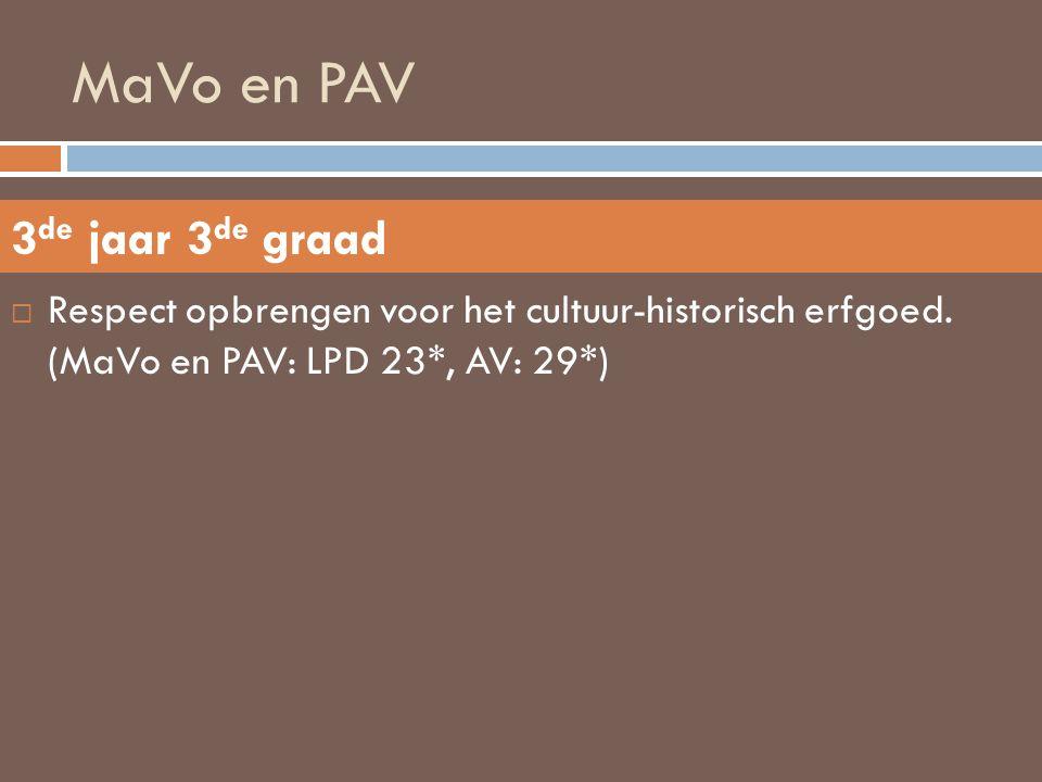 MaVo en PAV  Respect opbrengen voor het cultuur-historisch erfgoed. (MaVo en PAV: LPD 23*, AV: 29*) 3 de jaar 3 de graad