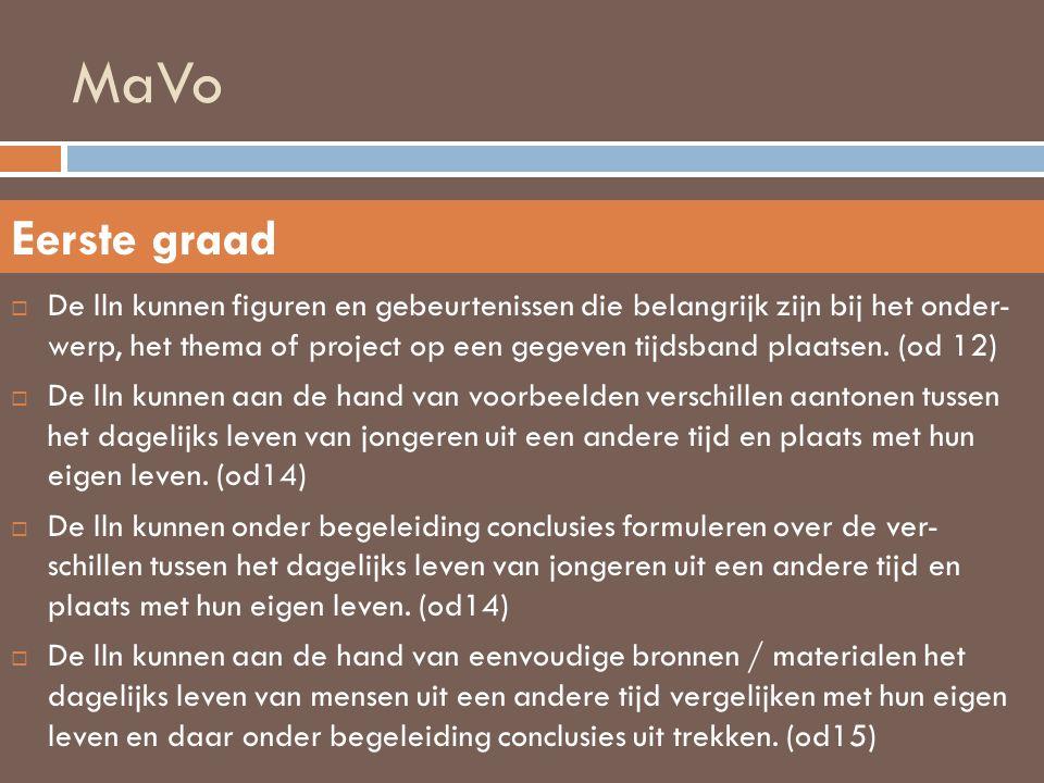 MaVo  De lln kunnen figuren en gebeurtenissen die belangrijk zijn bij het onder- werp, het thema of project op een gegeven tijdsband plaatsen. (od 12