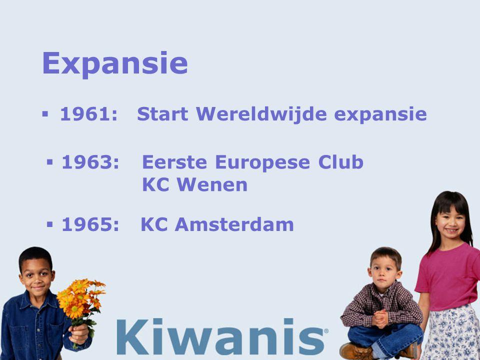Expansie  1961:Start Wereldwijde expansie  1963:Eerste Europese Club KC Wenen  1965: KC Amsterdam