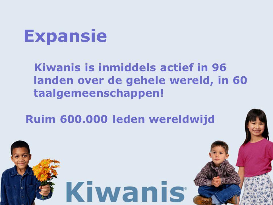 Expansie Kiwanis is inmiddels actief in 96 landen over de gehele wereld, in 60 taalgemeenschappen.