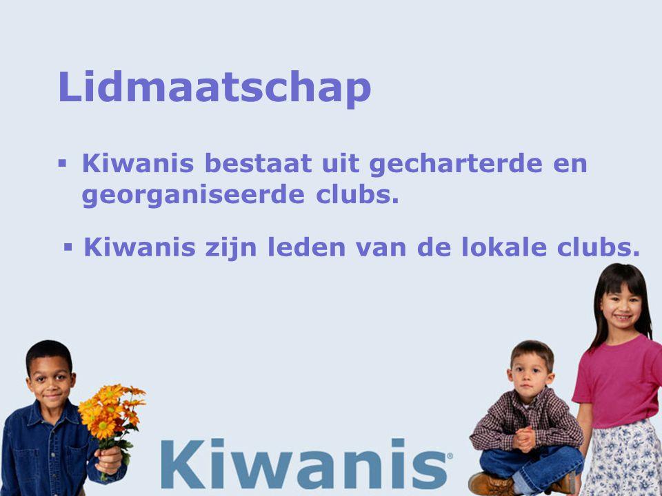 Lidmaatschap  Kiwanis bestaat uit gecharterde en georganiseerde clubs.