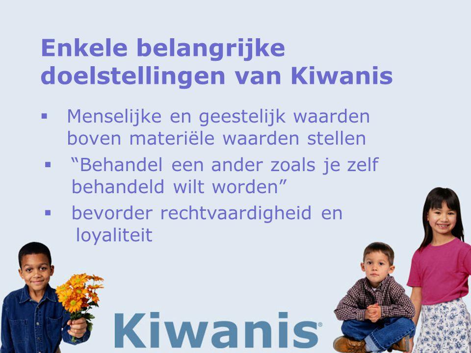 Enkele belangrijke doelstellingen van Kiwanis  Menselijke en geestelijk waarden boven materiële waarden stellen  Behandel een ander zoals je zelf behandeld wilt worden  bevorder rechtvaardigheid en loyaliteit