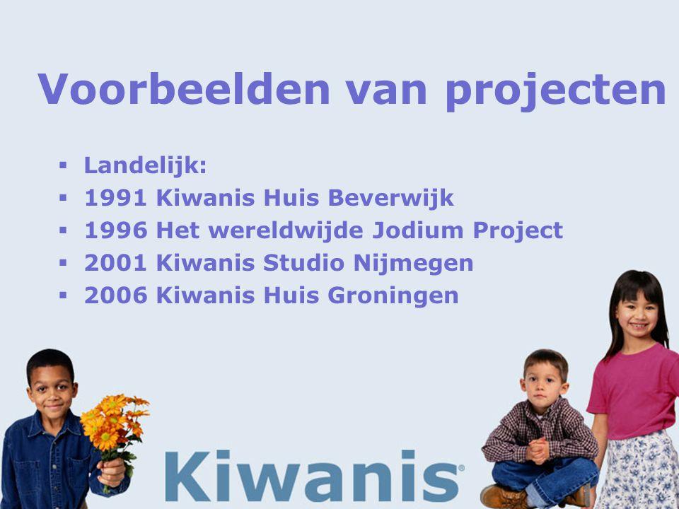Voorbeelden van projecten  Landelijk:  1991 Kiwanis Huis Beverwijk  1996 Het wereldwijde Jodium Project  2001 Kiwanis Studio Nijmegen  2006 Kiwanis Huis Groningen