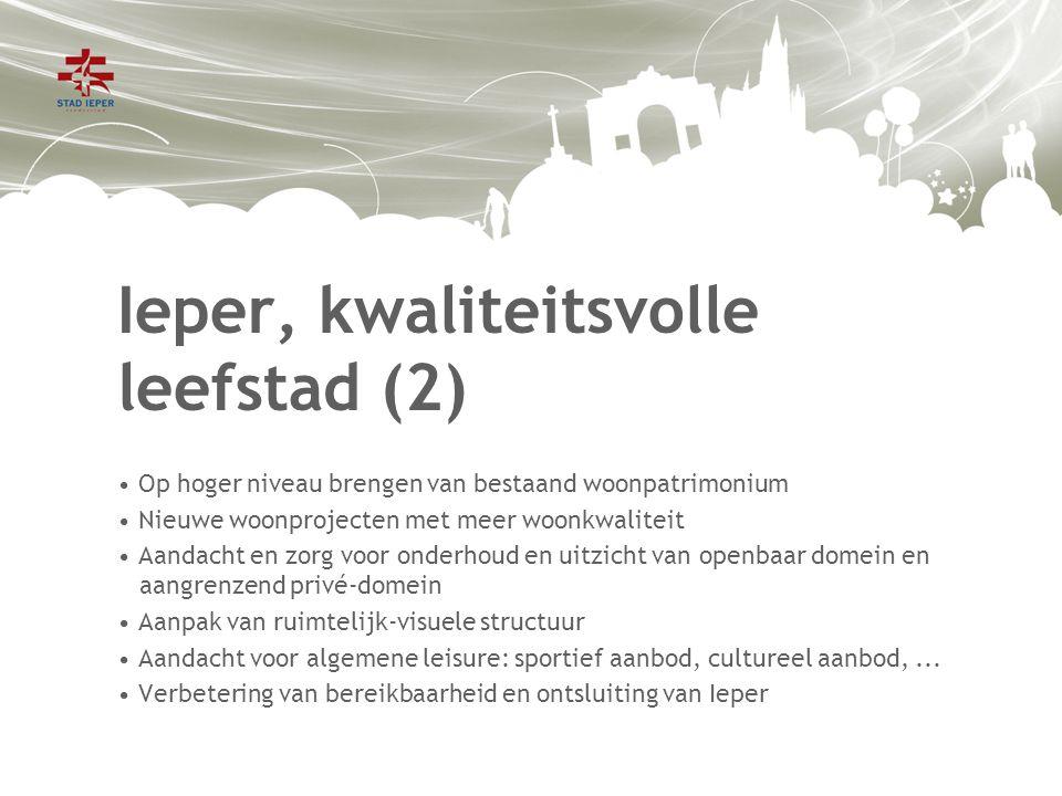 Ieper, kwaliteitsvolle leefstad (2) Op hoger niveau brengen van bestaand woonpatrimonium Nieuwe woonprojecten met meer woonkwaliteit Aandacht en zorg voor onderhoud en uitzicht van openbaar domein en aangrenzend privé-domein Aanpak van ruimtelijk-visuele structuur Aandacht voor algemene leisure: sportief aanbod, cultureel aanbod,...