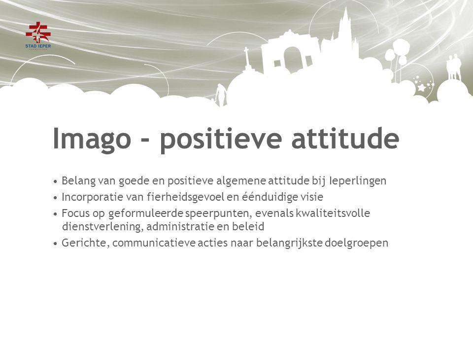Imago - positieve attitude Belang van goede en positieve algemene attitude bij Ieperlingen Incorporatie van fierheidsgevoel en éénduidige visie Focus op geformuleerde speerpunten, evenals kwaliteitsvolle dienstverlening, administratie en beleid Gerichte, communicatieve acties naar belangrijkste doelgroepen