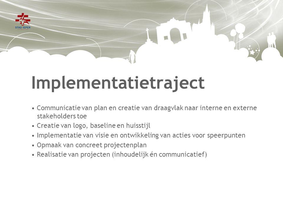 Implementatietraject Communicatie van plan en creatie van draagvlak naar interne en externe stakeholders toe Creatie van logo, baseline en huisstijl Implementatie van visie en ontwikkeling van acties voor speerpunten Opmaak van concreet projectenplan Realisatie van projecten (inhoudelijk én communicatief)