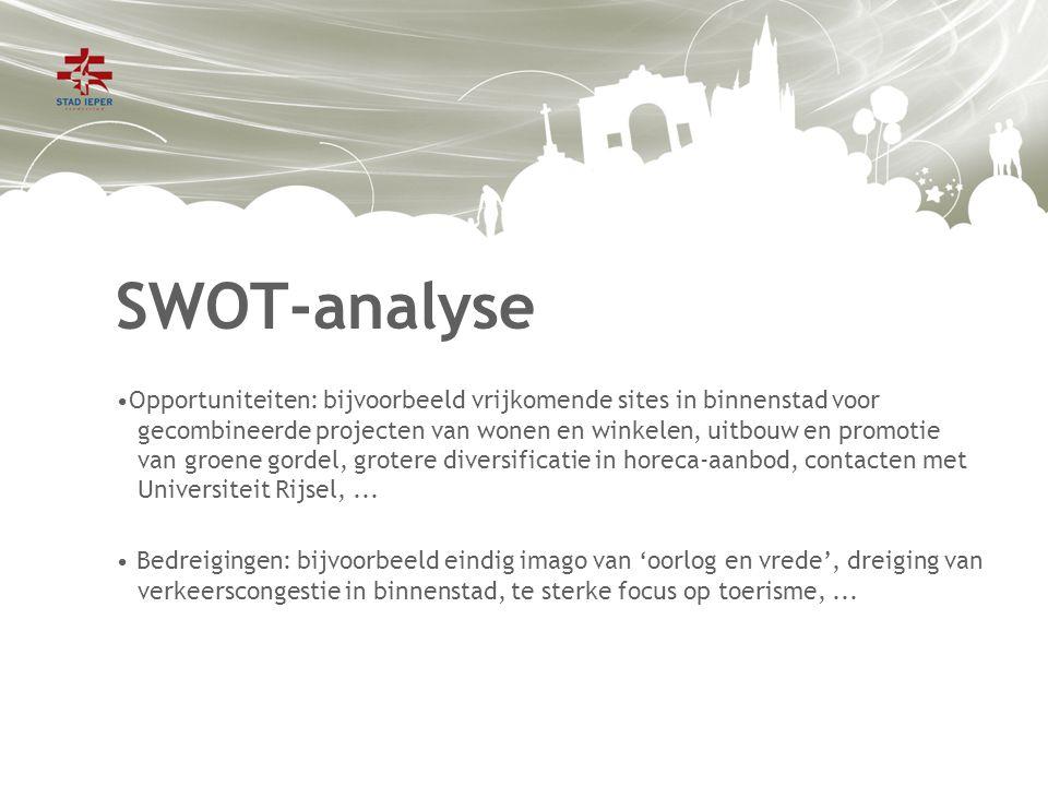 SWOT-analyse Opportuniteiten: bijvoorbeeld vrijkomende sites in binnenstad voor gecombineerde projecten van wonen en winkelen, uitbouw en promotie van groene gordel, grotere diversificatie in horeca-aanbod, contacten met Universiteit Rijsel,...