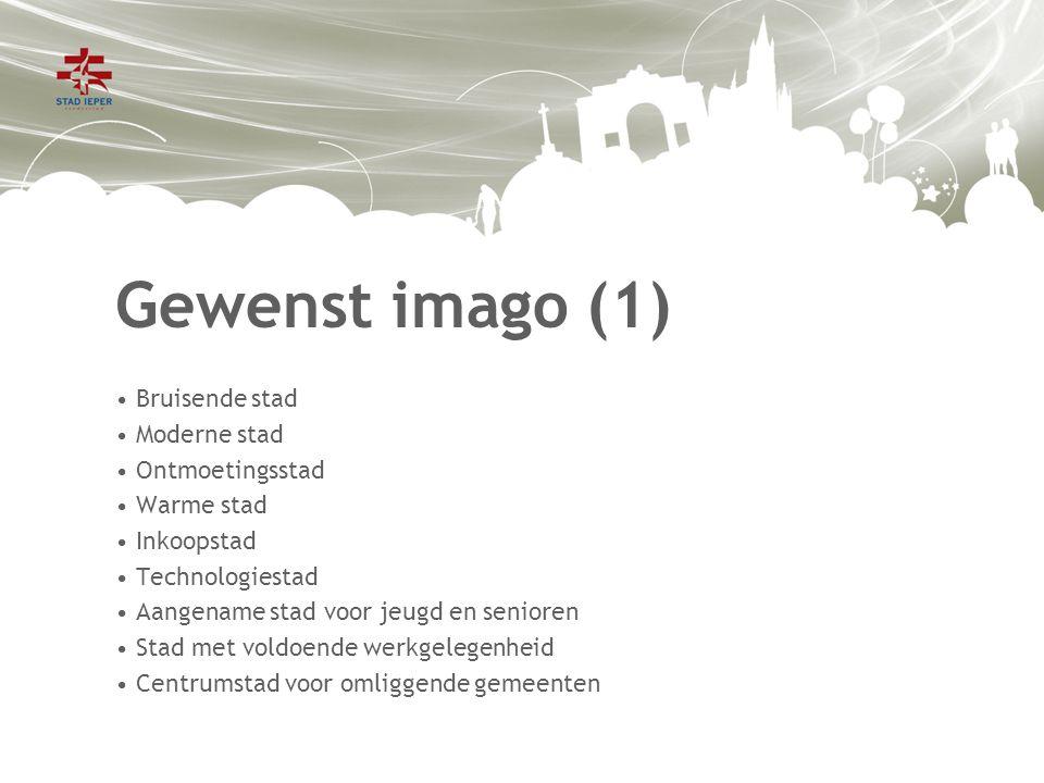 Gewenst imago (2) De vergelijking van het feitelijk imago met het gewenst imago toont aan dat Ieper nog een hele weg heeft af te leggen.
