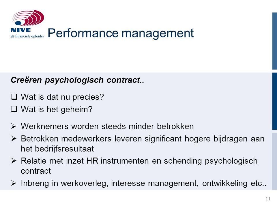 11 Creëren psychologisch contract..  Wat is dat nu precies?  Wat is het geheim?  Werknemers worden steeds minder betrokken  Betrokken medewerkers