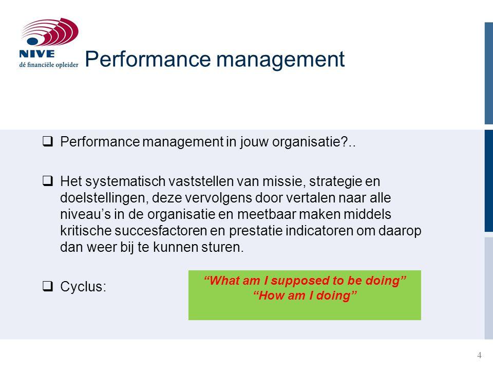 5 5 1.Plan: vaststellen missie, strategie en doelstellingen en doorvertalen naar alle management niveaus 2.Do:begeleiding in realisatieproces (coaching) 3.Check: beoordelen 4.Act: belonen en bijsturen t.b.v.